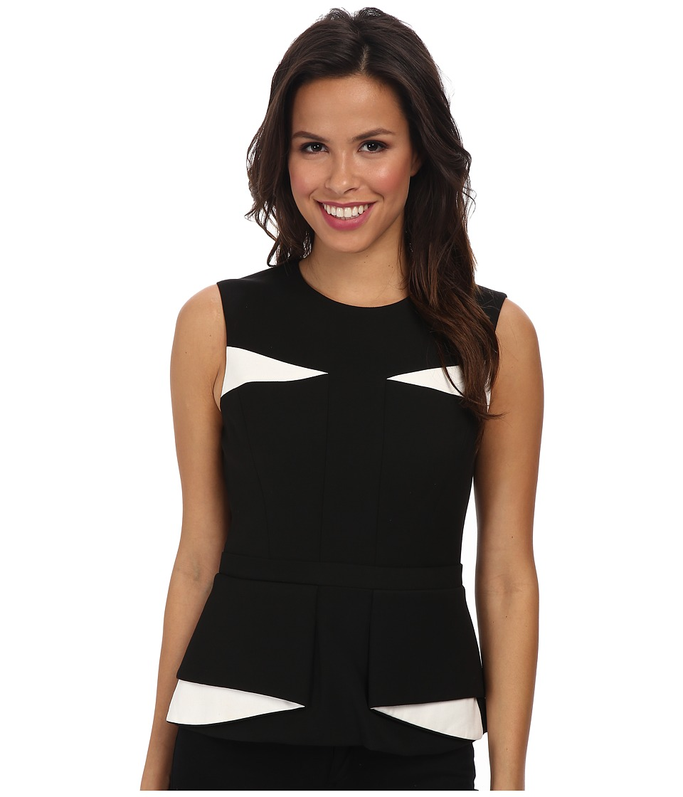 BCBGMAXAZRIA - Aspyn Contrast Folded Peplum Top (Black Combo) Women's Clothing