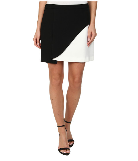 BCBGMAXAZRIA - Kiri Contrast Petal Mini Skirt (Black/Off White) Women's Skirt