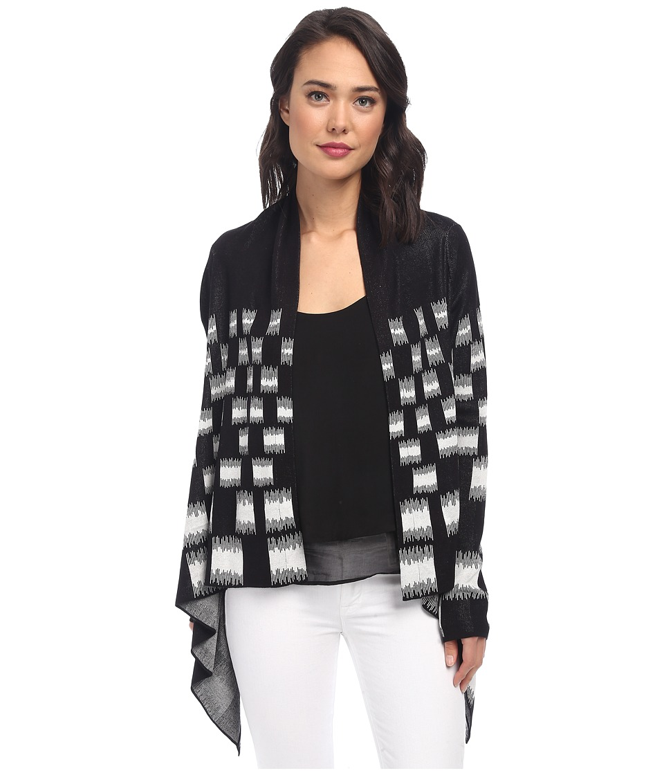 BCBGMAXAZRIA - Camia Jacquard Cardi Wrap (Black Combo) Women's Sweater