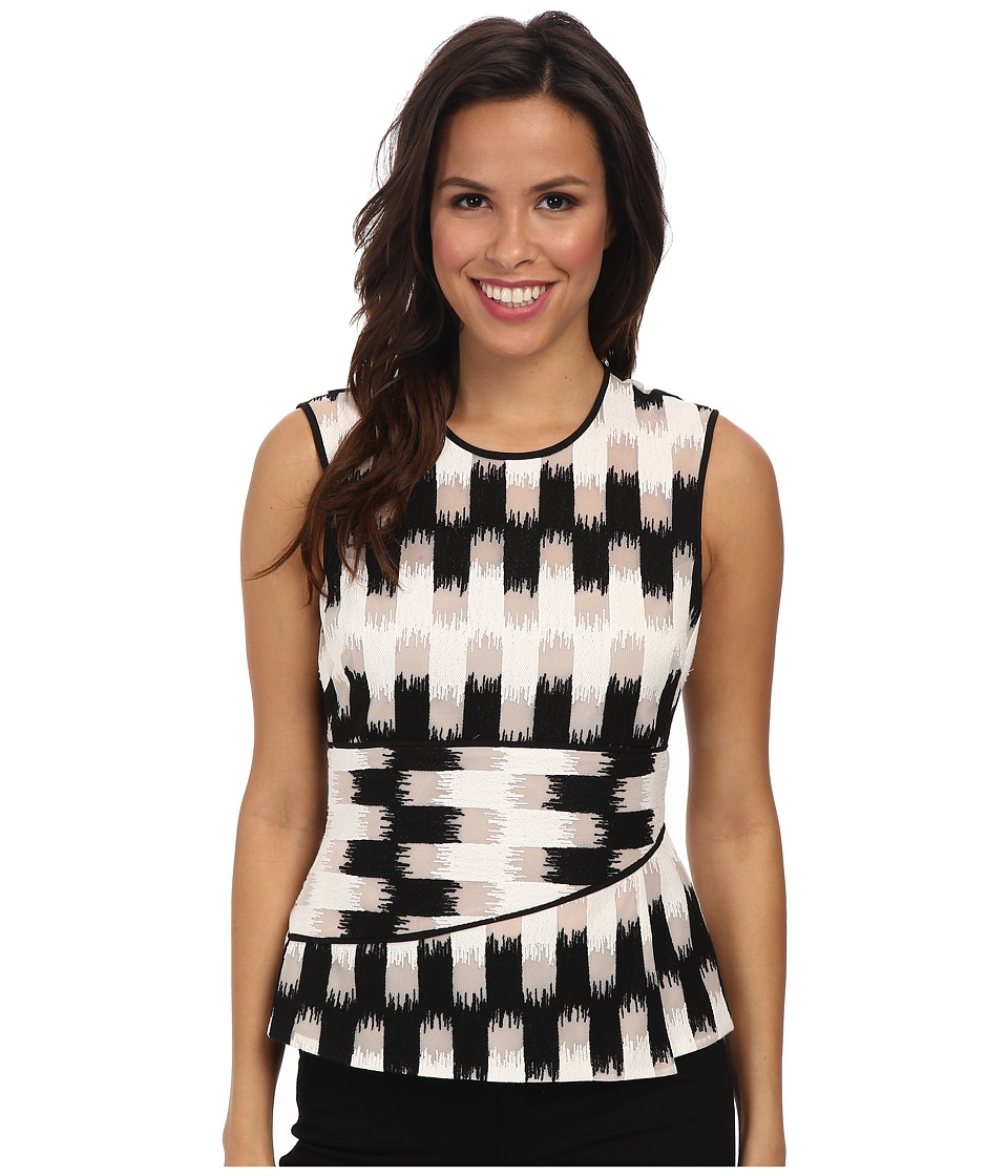 BCBGMAXAZRIA - Jolyne Asymmetrical Peplum Top (Black/White) Women's Sleeveless