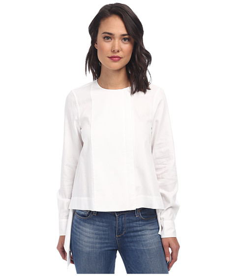 BCBGMAXAZRIA - Terri Long Sleeve Zip Front Shirt (White) Women's Blouse