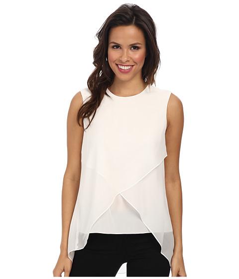BCBGMAXAZRIA - Lorielle Asymmetrical Drape Top (White) Women