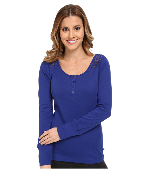 Jane & Bleecker - Rib Top with Lace 352920 (Forever Blue) Women's Pajama