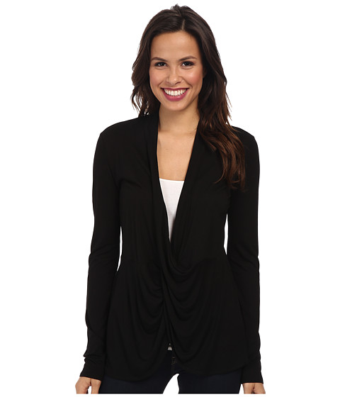 BCBGMAXAZRIA - Eliana Long Sleeve Twist Front Top (Black) Women's Clothing