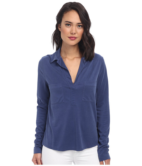 BCBGMAXAZRIA - Eryn Oversized Top with Collar (Vintage Blue Depths) Women