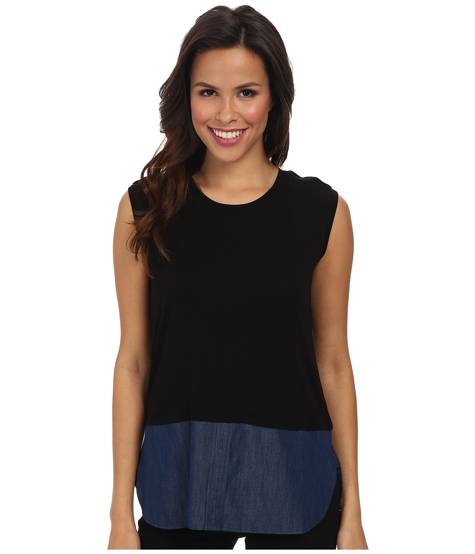 BCBGMAXAZRIA - Durian Sleeveless Top with Shirt Tail (Black Combo) Women's Clothing