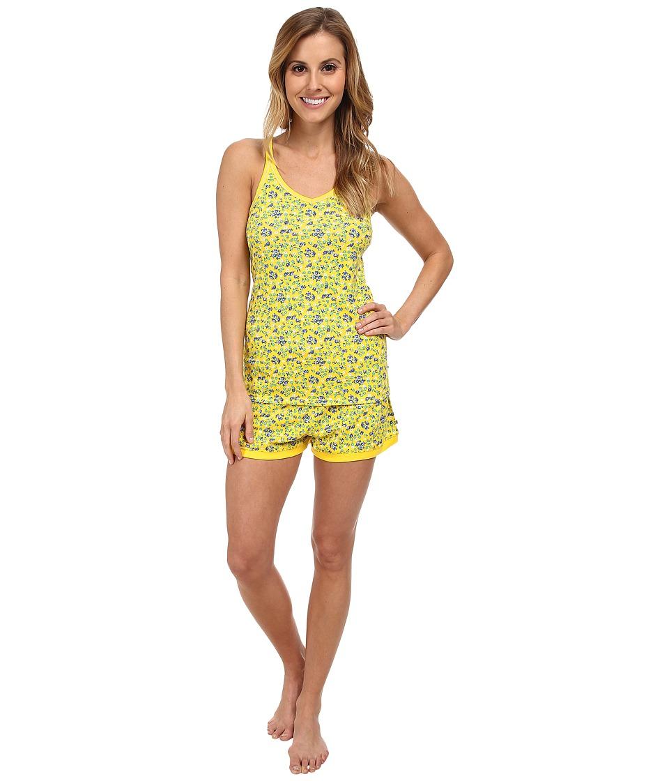 Jane & Bleecker - Rib Tank Top Shorts Set 353940 (Blooming Sun) Women's Pajama Sets