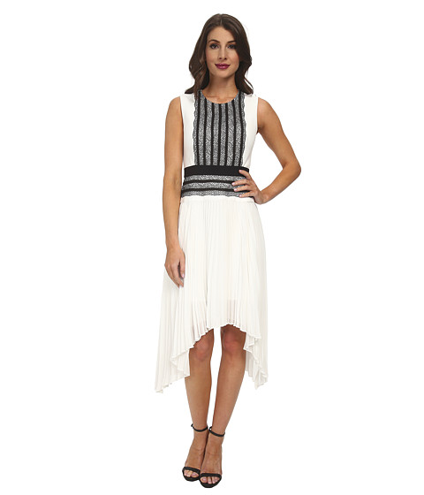BCBGMAXAZRIA - Adelyn Sleeveless Dress with Pleated Skirt (Off White/Black) Women