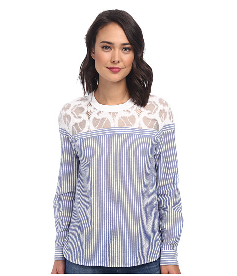 BCBGMAXAZRIA - Jasmyn Lace Yoke Striped Shirt (Dark Blue) Women