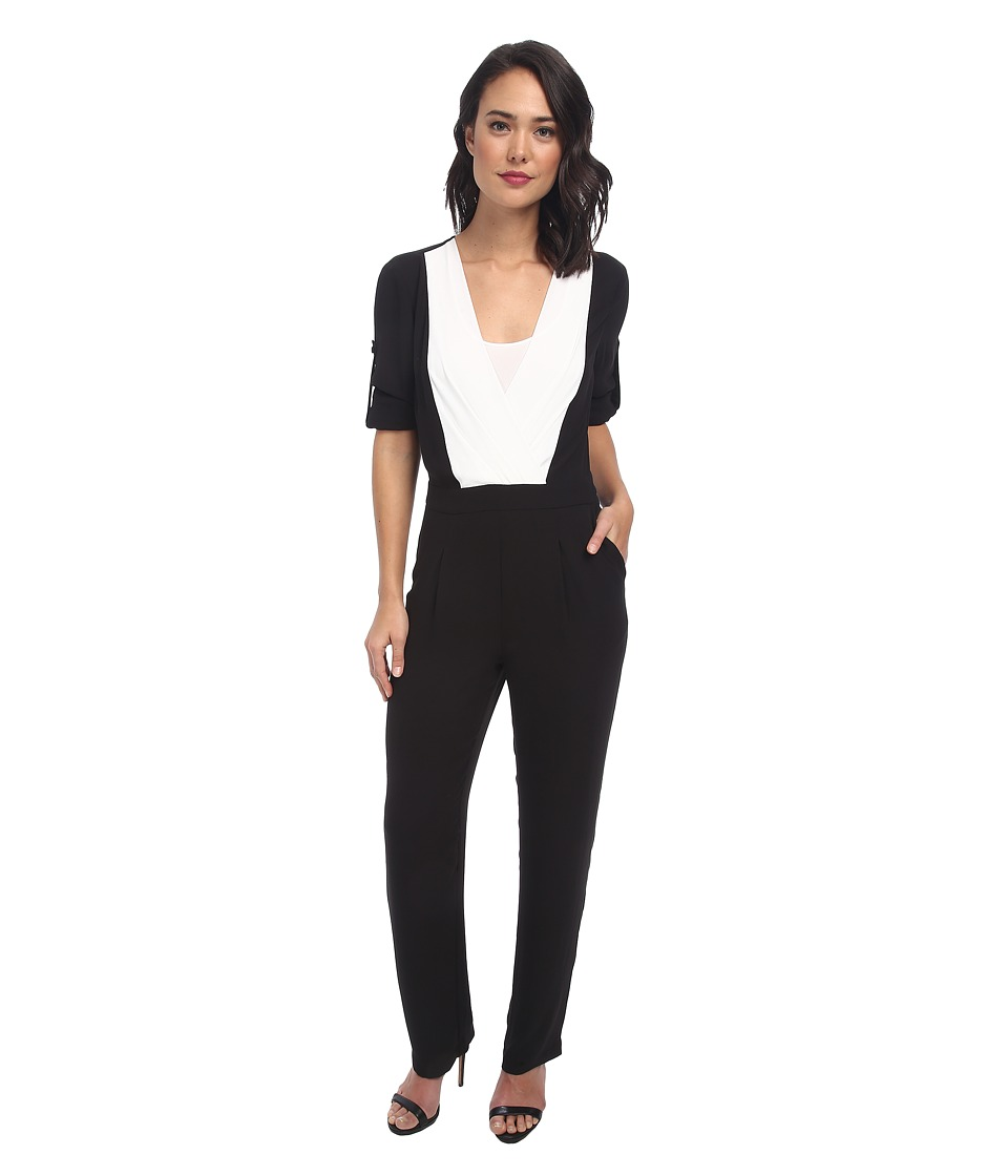 BCBGMAXAZRIA - Kailan Color Blocked Jumpsuit (Black Combo) Women
