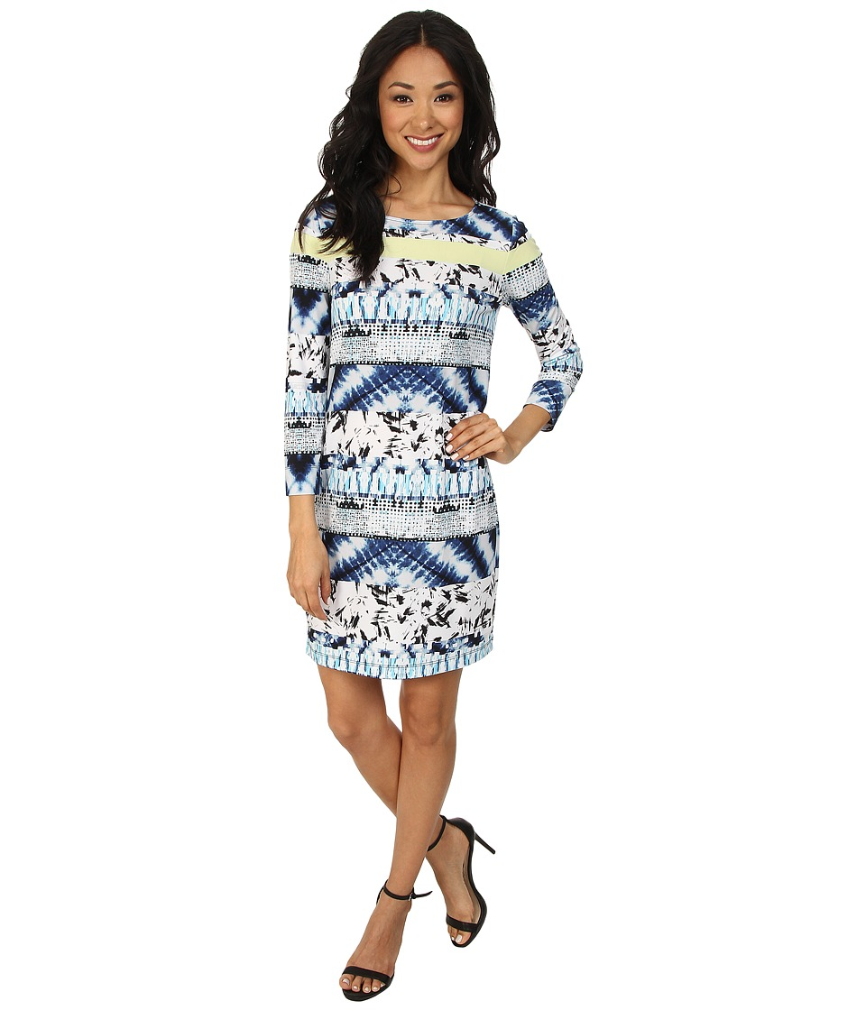 BCBGMAXAZRIA - Calico Printed Shift Dress (Blue Tide Combo) Women