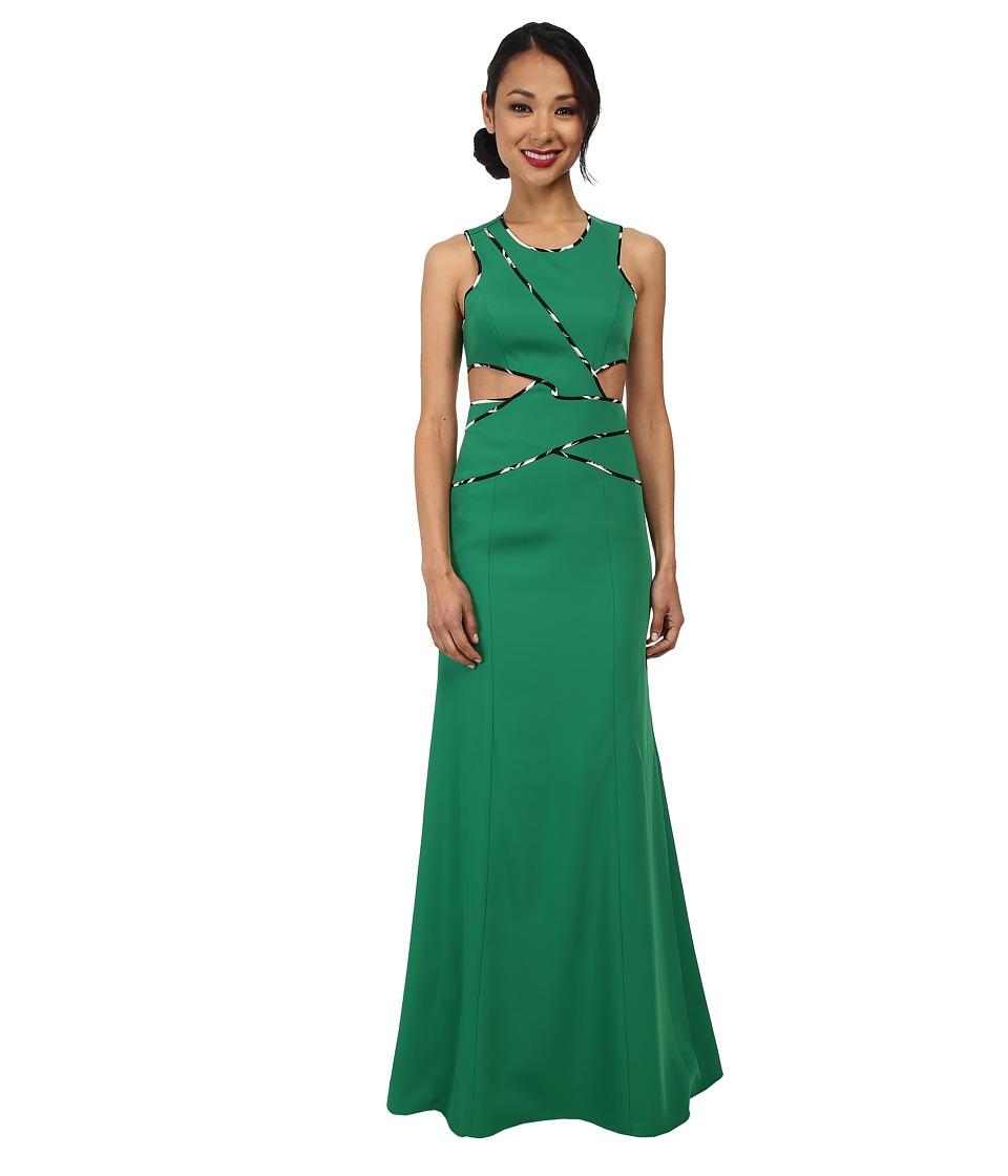 BCBGMAXAZRIA - Nikkole Sleeveless Side Cutout Gown (Malachite) Women's Dress