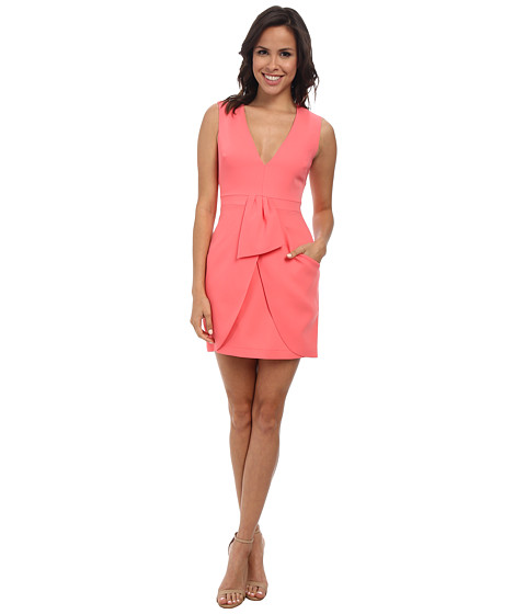 BCBGMAXAZRIA - Clare Sleeveless Wrap Drape Skirt Dress (Pink Coral) Women's Dress
