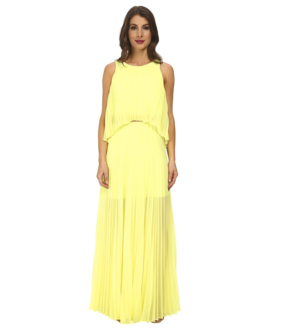 BCBGMAXAZRIA - Shaina Sleeveless Pleated Gown (Bright Citron) Women's Dress