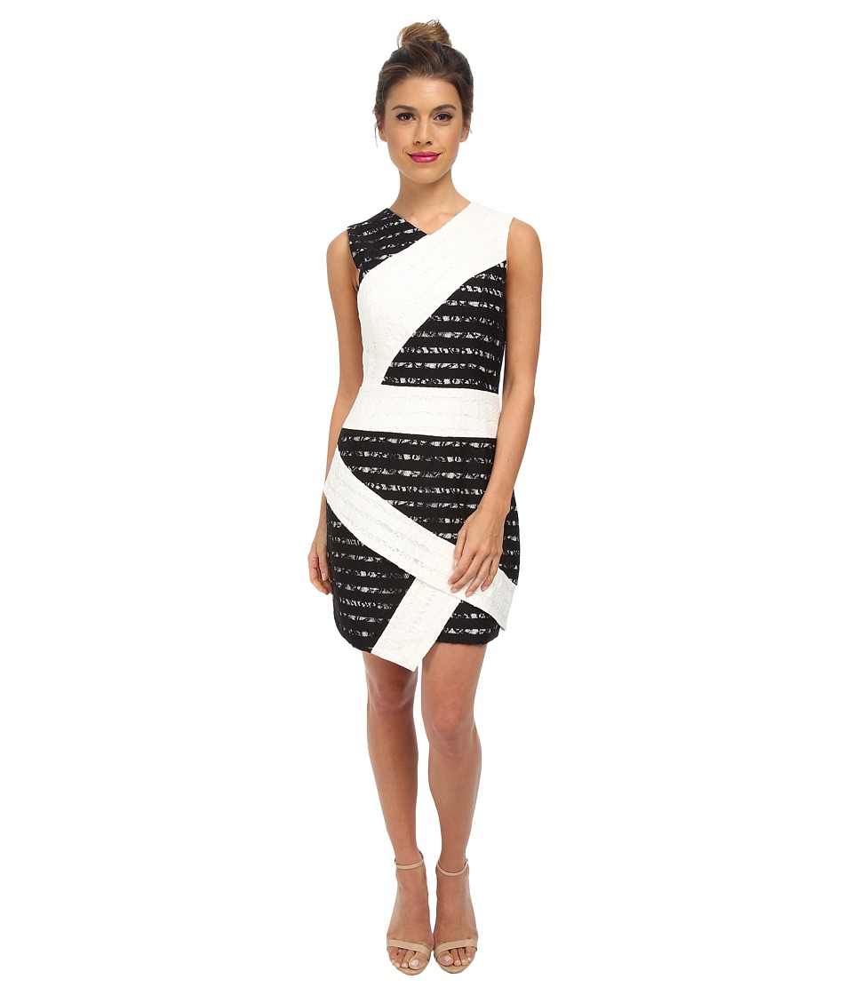 BCBGMAXAZRIA - Dalia Sleeveless Dress with Asymmetric Hem (White Combo) Women's Dress