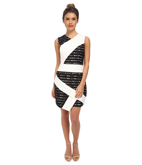 BCBGMAXAZRIA - Dalia Sleeveless Dress with Asymmetric Hem (White Combo) Women