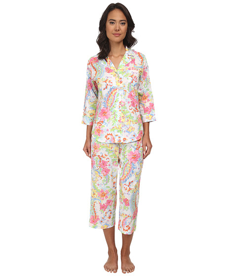 LAUREN by Ralph Lauren - Goa Lawn 3/4 Sleeve Notch Collar Capri PJ Set (Princess Paisley White Multi) Women's Pajama Sets