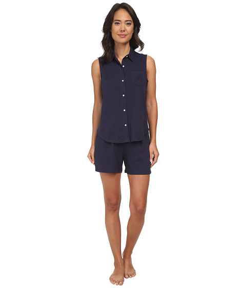 LAUREN by Ralph Lauren - Essentials Sleeveless Boxer PJ Set (Windsor Navy) Women's Pajama Sets