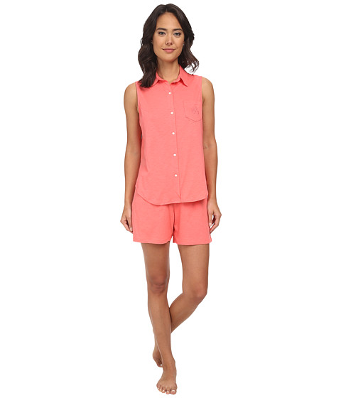 LAUREN by Ralph Lauren - Essentials Sleeveless Boxer PJ Set (Coral Island) Women's Pajama Sets