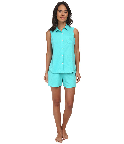 LAUREN by Ralph Lauren - Essentials Sleeveless Boxer PJ Set (Soft Jade) Women's Pajama Sets