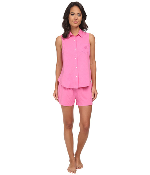 LAUREN by Ralph Lauren - Essentials Sleeveless Boxer PJ Set (Azalea Pink) Women's Pajama Sets