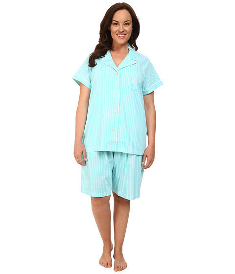 LAUREN by Ralph Lauren - Plus Size Garden Party Classic Notch Collar Bermuda PJ Set (Crestview Stripe Garden Turquoise/White) Women's Pajama Sets