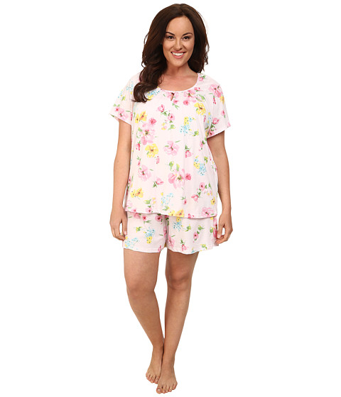 LAUREN by Ralph Lauren - Plus Size Garden Party Short Sleeve Boxer PJ Set (Pierson Floral Pink) Women's Pajama Sets