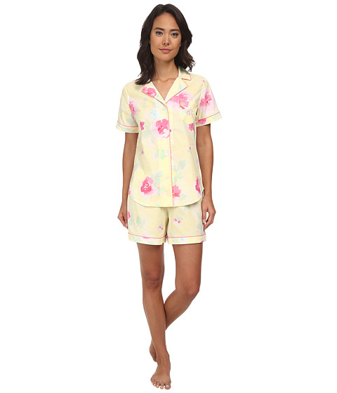 LAUREN by Ralph Lauren - Garden Party Short Sleeve Notch Collar Boxer PJ Set (Dune Road Floral Yellow Multi) Women