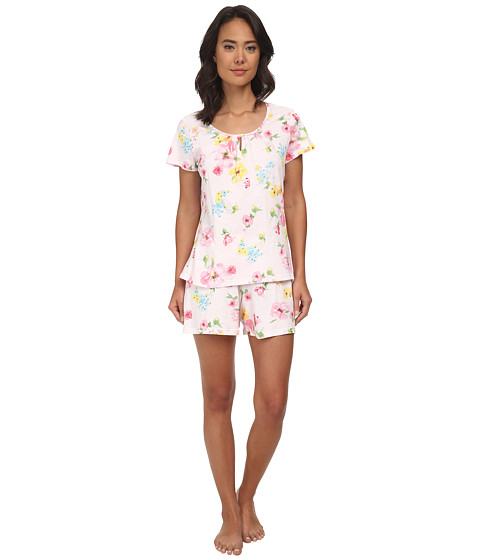 LAUREN by Ralph Lauren - Garden Party Short Sleeve Boxer PJ Set (Pierson Floral Pink) Women