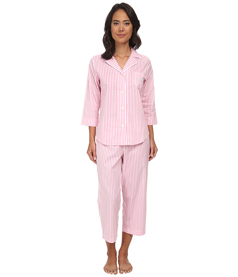 LAUREN by Ralph Lauren - Garden Party 3/4 Sleeve Notch Collar Capri PJ Set (Georgica Stripe White/Passion Pink) Women