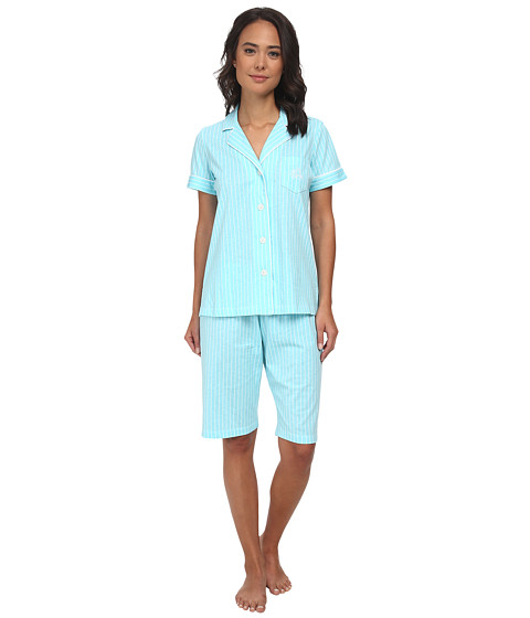 LAUREN by Ralph Lauren - Garden Party Classic Notch Collar Bermuda PJ Set (Crestview Stripe Garden Turquoise/White) Women