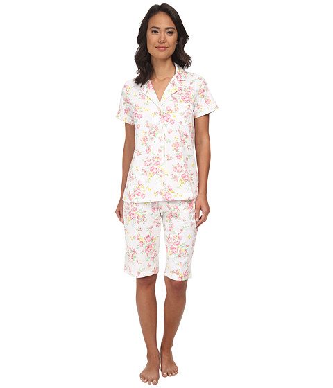 LAUREN by Ralph Lauren - Garden Party Classic Notch Collar Bermuda PJ Set (Erica Floral White/Pink Multi) Women
