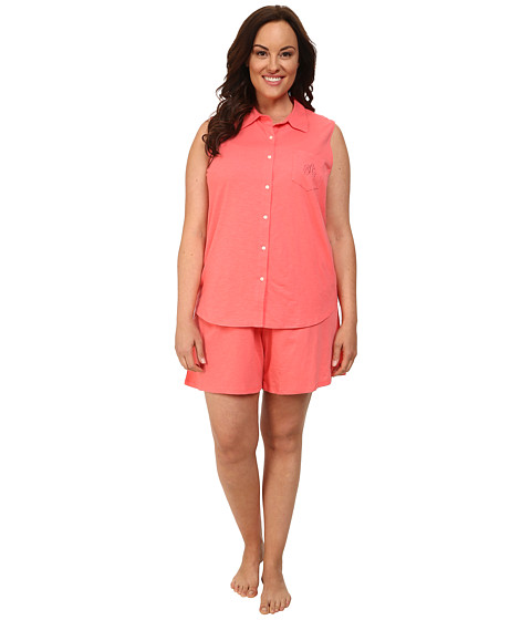 LAUREN by Ralph Lauren - Plus Size Essentials Sleeveless Boxer PJ Set (Coral Island) Women's Pajama Sets