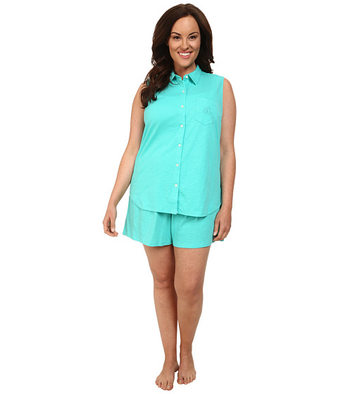 LAUREN by Ralph Lauren - Plus Size Essentials Sleeveless Boxer PJ Set (Soft Jade) Women