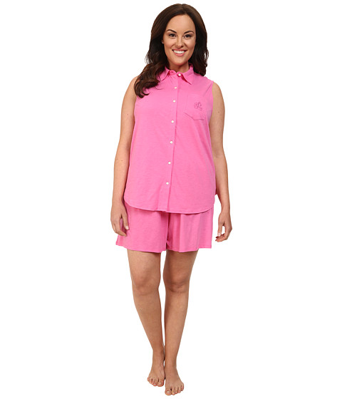 LAUREN by Ralph Lauren - Plus Size Essentials Sleeveless Boxer PJ Set (Azalea Pink) Women