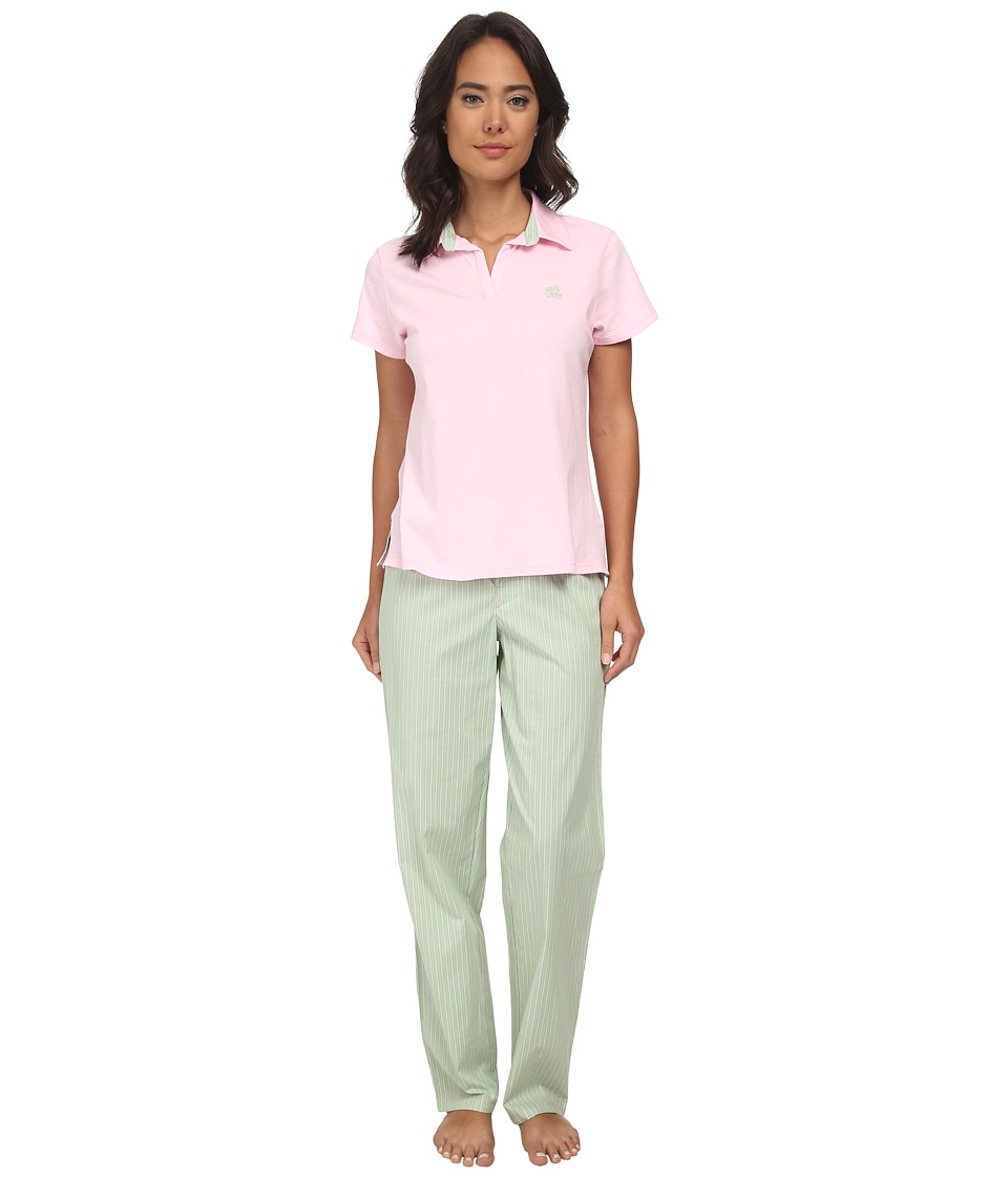 LAUREN Ralph Lauren - Garden Party Knit Top with Woven Pants PJ Set (Biscayne Rose Top W Beachcomber Stripe Meadow Green/White/Passio) Women's Pajama Sets