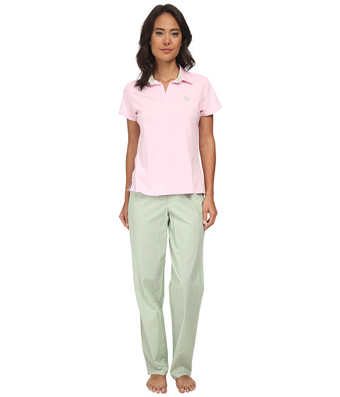 LAUREN by Ralph Lauren - Garden Party Knit Top with Woven Pants PJ Set (Biscayne Rose Top W Beachcomber Stripe Meadow Green/White/Passio) Women's Pajama Sets