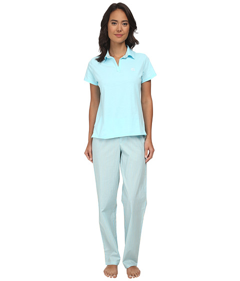 LAUREN by Ralph Lauren - Garden Party Knit Top with Woven Pants PJ Set (Garden Turquoise Top W Beachcomber Stripe Cove Turquoise/White/Y) Women's Pajama Sets
