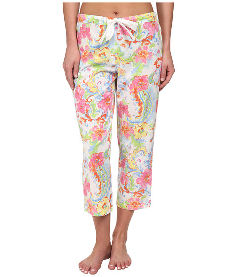 LAUREN by Ralph Lauren - Goa Paisley Print Capri Pants (Princess Paisley White Multi) Women