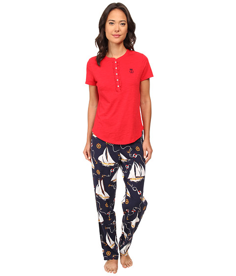 LAUREN by Ralph Lauren - Il Pellicano Short Sleeve Knit Top w/ Long Woven Pants (Rl Red Top/Riva Sailboat Print Pant) Women's Pajama Sets