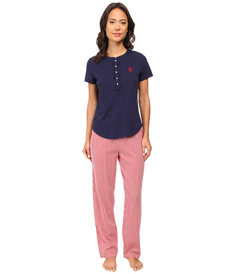 LAUREN by Ralph Lauren - Il Pellicano Short Sleeve Knit Top w/ Long Woven Pants (Capri Navy Top/Toscano Stripe Pant Rl Red/White) Women's Pajama Sets