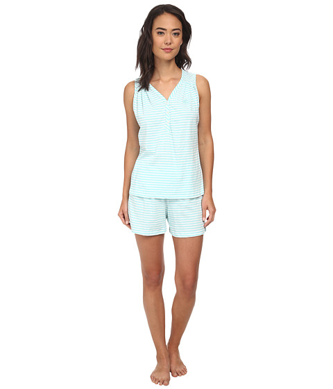 LAUREN by Ralph Lauren - Goa Sleeveless Striped Boxer PJ Set (Miramar Stripe Sunwashed Turquoise/White) Women's Pajama Sets