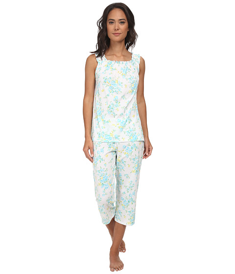 LAUREN by Ralph Lauren - Garden Party Sleeveless Capri PJ Set with Smocking (Erica Floral White/Turquoise Multi) Women