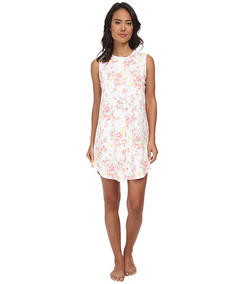 LAUREN by Ralph Lauren - Garden Party Sleeveless Sleepshirt (Erica Floral White/Pink Multi) Women's Pajama