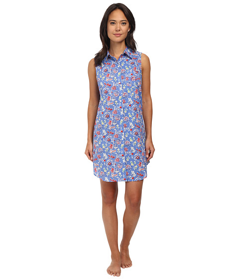 LAUREN by Ralph Lauren - Il Pellicano Sleeveless Sleepshirt (Dominique Floral Blue Multi) Women's Pajama