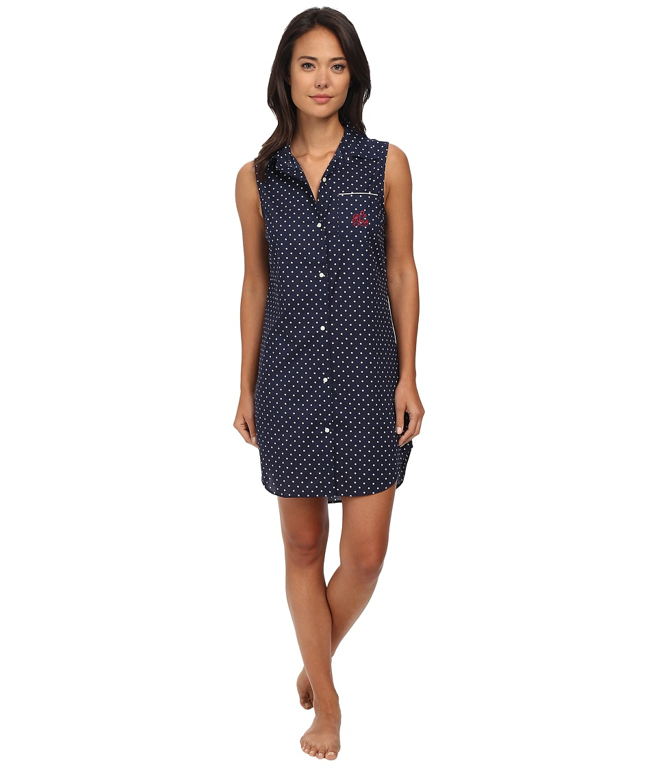LAUREN by Ralph Lauren - Il Pellicano Sleeveless Sleepshirt (Mia Dot Capri Navy/White) Women