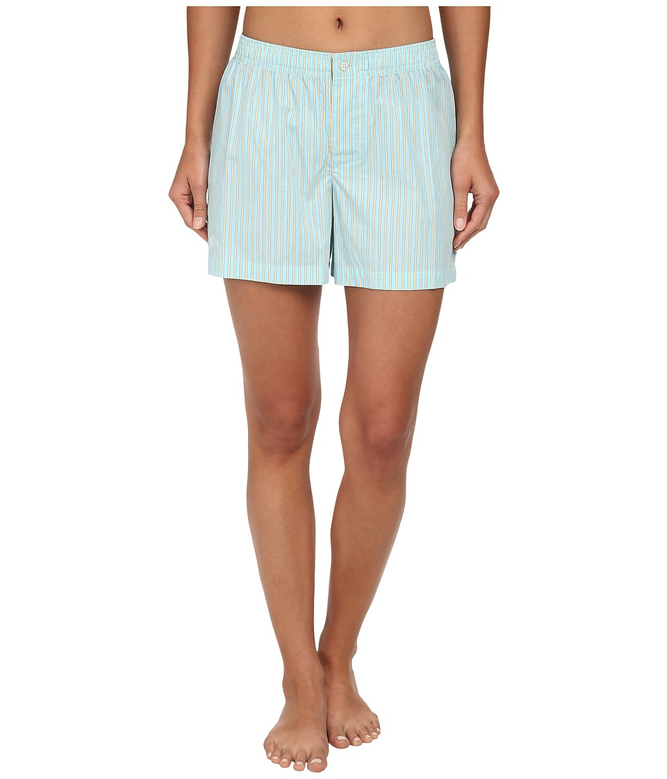 LAUREN by Ralph Lauren - Garden Party Boxer Shorts (Beachcomber Stripe Cove Turquoise/White/Yellow) Women's Pajama