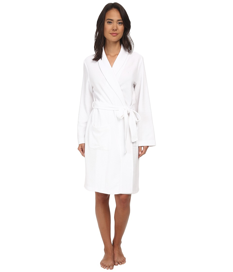 LAUREN by Ralph Lauren - Garden Party Short Shawl Collar Robe (White) Women's Robe