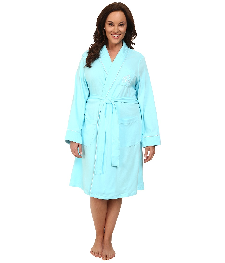 LAUREN Ralph Lauren - Plus Size Essentials Quilted Collar and Cuff Robe (Garden Turquoise) Women's Robe