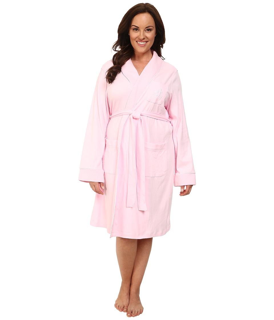 LAUREN Ralph Lauren - Plus Size Essentials Quilted Collar and Cuff Robe (Biscayne Rose) Women's Robe